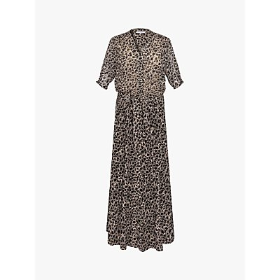 Gerard Darel Solidea Silk Blend Floral Maxi Dress, Black