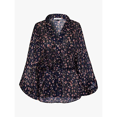 Gerard Darel Natalia Silk Blend Floral Blouse