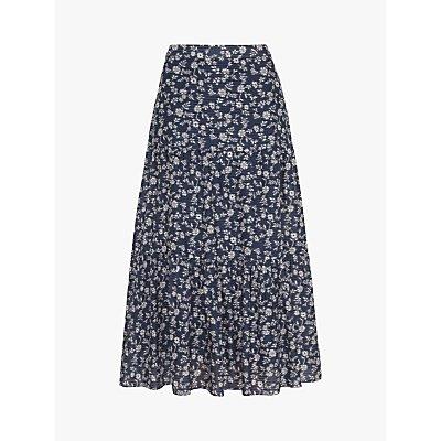 Gerard Darel Loriane Cotton and Silk Mix Floral A-Line Midi Skirt, Blue