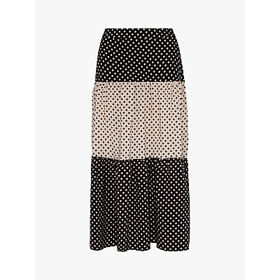 Gerard Darel Lorna Colour Block Polka Dot Maxi Skirt, Black/Ecru