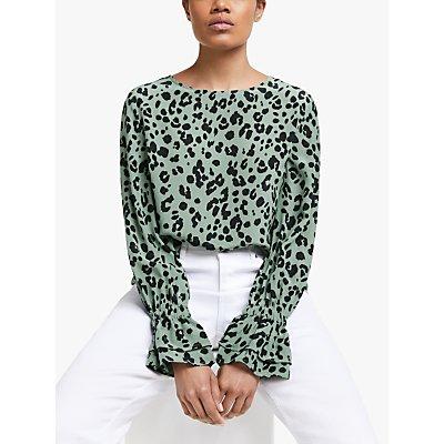 Lily and Lionel Dakota Leopard Print Silk Blouse, Olive