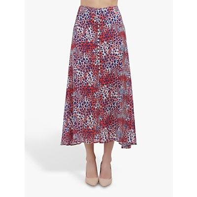 Mercy Delta Moulton Snake Print Skirt, Red/Navy