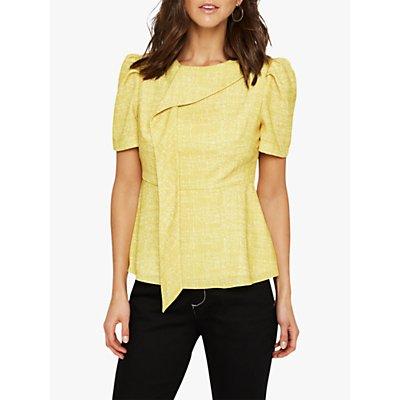 Damsel in a Dress Nanette Print Drape Blouse, Yellow