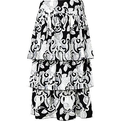 See By Chloé Paisley Print Poplin Ruffle Skirt, Black/White