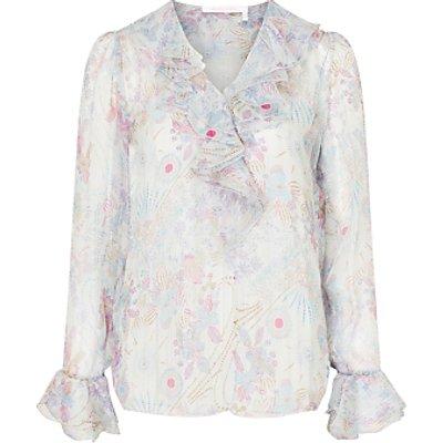 See By Chloé Floral Print Silk Rich Ruffle Blouse, Multi