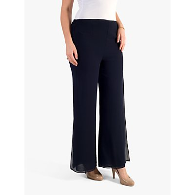 Chesca Double Layer Chiffon Trousers, Navy