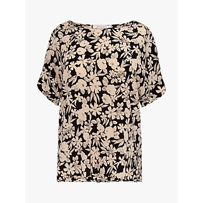 Gerard Darel Netty Silk Floral Blouse, Black
