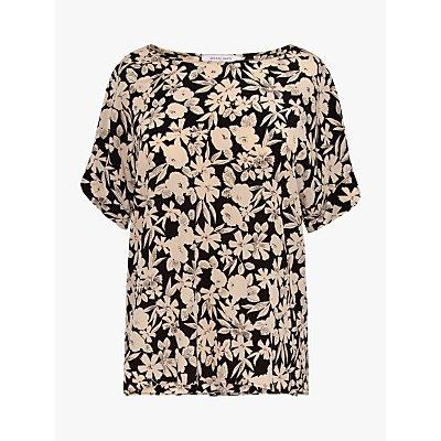 Gerard Darel Netty Silk Floral Blouse, Black