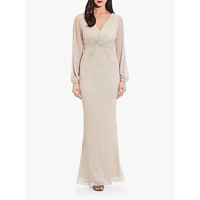 Adrianna Papell Plus Glitter Knot Detail Maxi Dress, Light Champagne