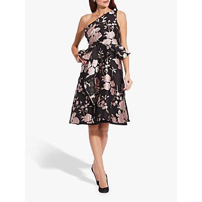 Adrianna Papell Jacquard One Shoulder Dress, Black/Pink