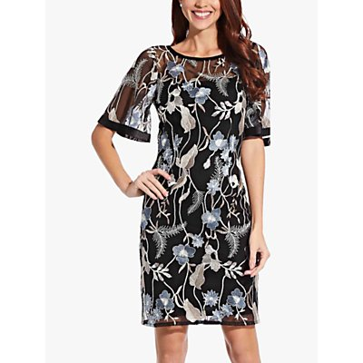 Adrianna Papell Embroidered Flare Sleeve Dress, Black/Multi