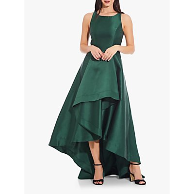 Adrianna Papell Mikado High Low Long Maxi Dress, Dark Forest