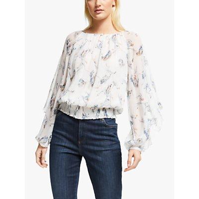 Joie Kriston Long Sleeve Floral Print Silk Blouse, Porcelain