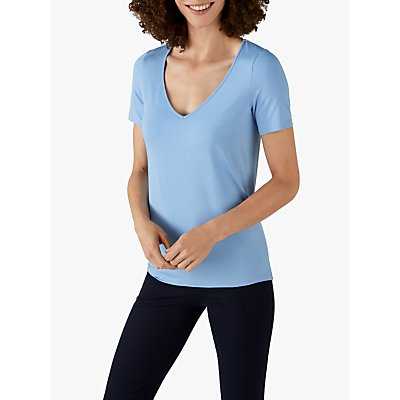 Pure Collection Jersey V-Neck Short Sleeve Top