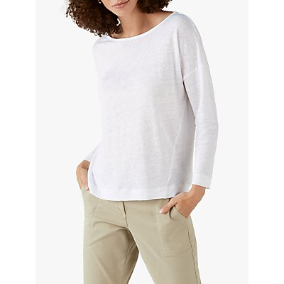 Pure Collection Linen Long Sleeve Jersey Top, Off White
