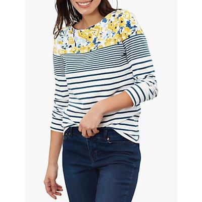 Joules Harbour Print Jersey Top, Cream/Blue Florals