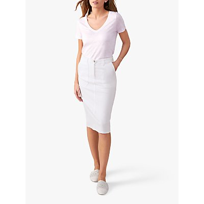 Pure Collection Chino Pencil Skirts, White