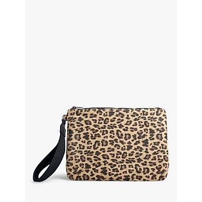 hush Elba Leopard Print Clutch Bag, Brown