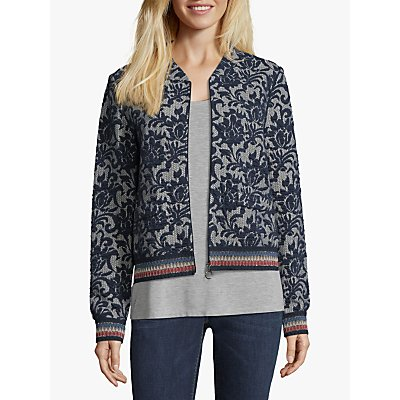 Betty Barclay Tapestry Blouson Floral Jacket, Blue/Cream