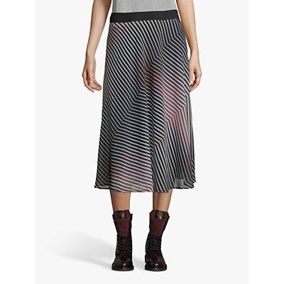 Betty & Co. Chiffon Stripe Midi Skirt, Rose/Black