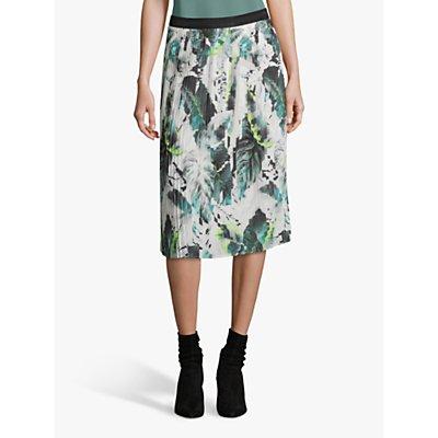 Betty & Co. Knife Pleat Leaf Print Skirt, Multi