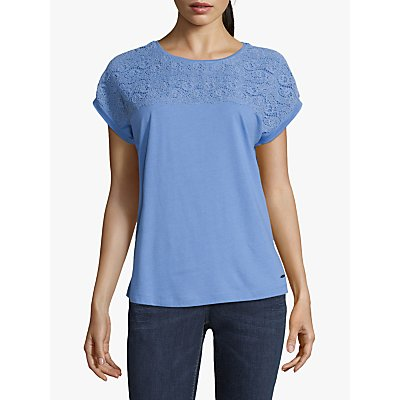 Betty Barclay Lace Panel Chiffon Top, Blue Diamond
