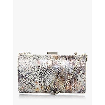 Dune Bustle Croc Effect Clutch Bag, Grey