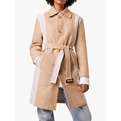 French Connection Candis Stripe Mix Belted Coat, Multi