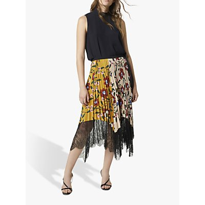 French Connection Abeona Floral Lace Midi Skirt, Black/Multi