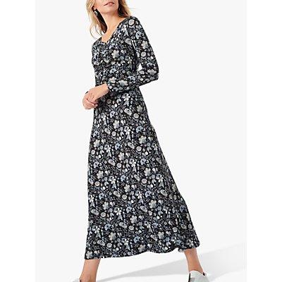 Brora Liberty of London Jersey Ruched Midi Dress, Nimbus Botanic