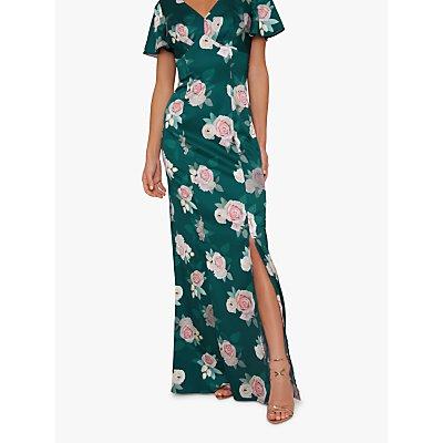 Chi Chi London Meadow Floral Print Maxi Dress, Teal/Multi