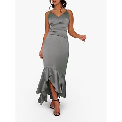 Chi Chi London Devon Flared Midi Dress, Green/Grey