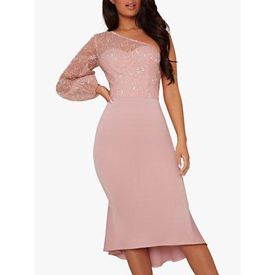 Chi Chi London Krissie Floral Embroidery Asymmetric Hem Dress, Blush