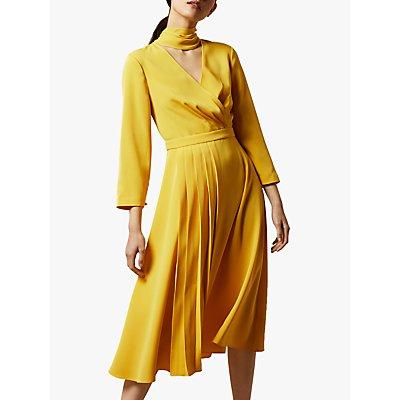 Ted Baker Jilliie Tie Neck Midi Dress, Yellow