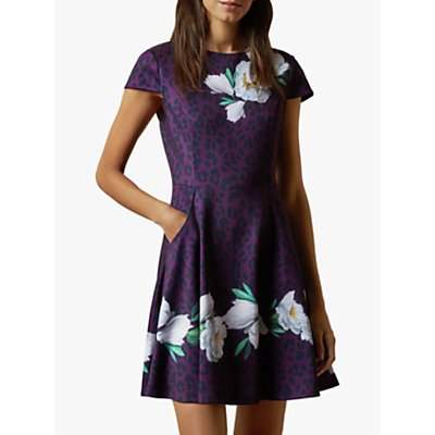 Ted Baker Tohkoh Floral and Animal Print Flared Dress, Purple/Multi