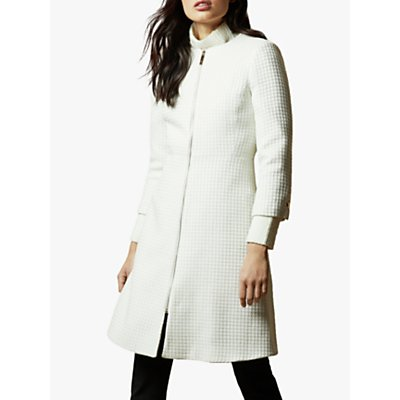 Ted Baker Accra Textured Dress Coat, White
