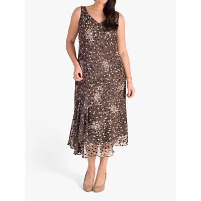 chesca Cluster Spot Satin Devoree Dress, Mocha/Cream/Black