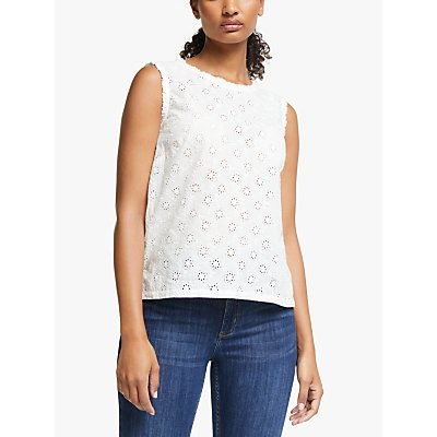People Tree Katrina Broderie Sleveless Cotton Lace Top, White