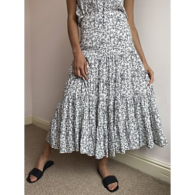 AND/OR Brooke Tiered Floral Skirt, White