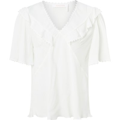 See By Chloé Silk Mix Ruffle Blouse, White