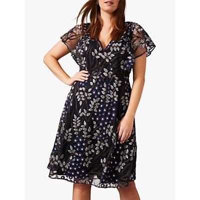Studio 8 Ida Ida Embriodered Dress, Navy/Multi