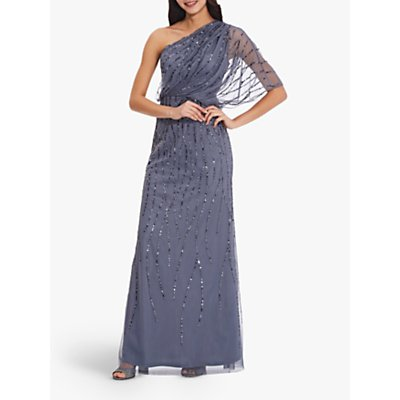 Adrianna Papell Petite Beaded Asymmetric Neck Gown, Dusty Blue