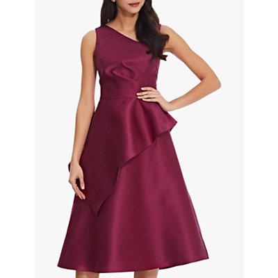 Adrianna Papell Mikado Midi Dress, Red Plum