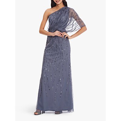 Adrianna Papell Plus Beaded Long Dress, Dusty Blue