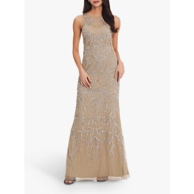 Adrianna Papell Bead Halterneck Gown, Champagne