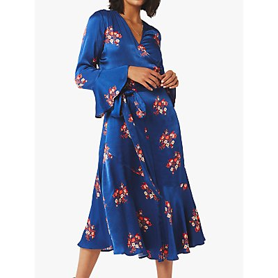 Ghost Idris Floral Satin Wrap Dress, Navy