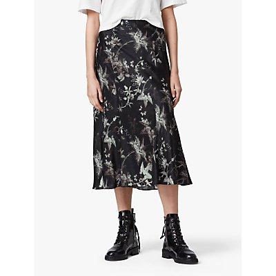 AllSaints Elly Evolution Floral Midi Skirt, Black
