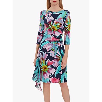 Gina Bacconi Hanne Jersey Chiffon Dress, Navy/Pink