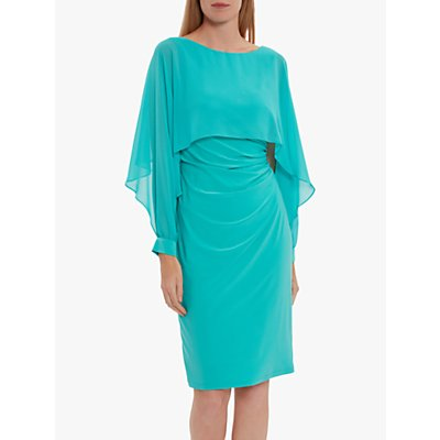 Gina Bacconi Olma Jersey Cape Dress, Sea Green