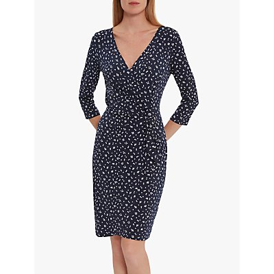 Gina Bacconi Candia Spot Jersey Dress, Navy/White